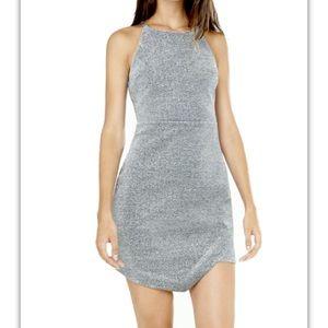 NWT EXPRESS Haltertop silver metallic sheath dress